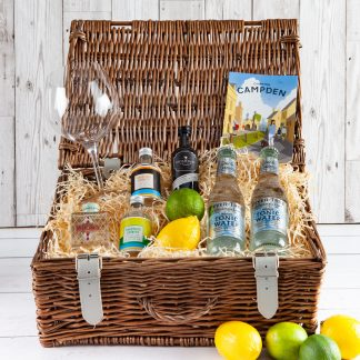 Gin Collection ,Cotswold Food Hampers, Gin, Tonic, G&T, Cotswolds Gin, Cotswolds Distillery, Twisting Spirits, Sibling Gin, Fever-Tree Tonic, Gin Goblet, Gin Gift, Gin Glass, UK Delivery, Gin Connoisseur, Gin Lover, Gift, Wicker Gin Hamper