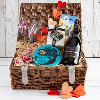 Valentine's Hamper, Valentine's Hamper, Lovers Gift , UK delivery , Chocolate & Fizz, Cotswold Valentine, Cotswold Food Hampers, UK Delivery, Wicker Valentine Hamper, Love, Valentine, Hearts
